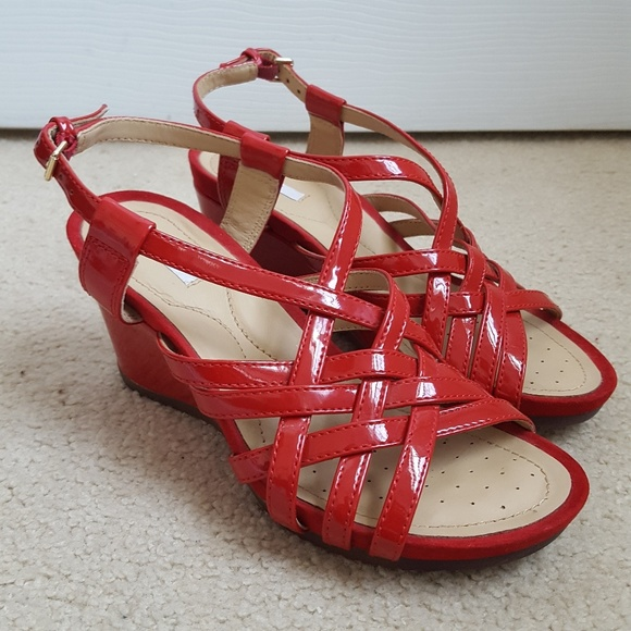 a2dc0af717a Geox Size 35 Red Patent Leather Strappy Wedges